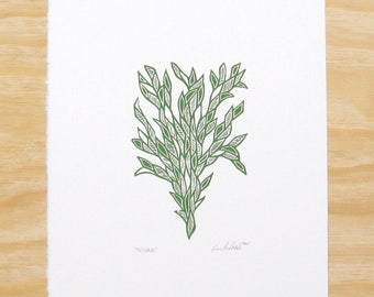"Woodblock Print - ""Friend"" Forest Green Plant - Art Printmaking"
