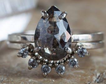 Natural Black Rose Cut Diamond Ring- white gold