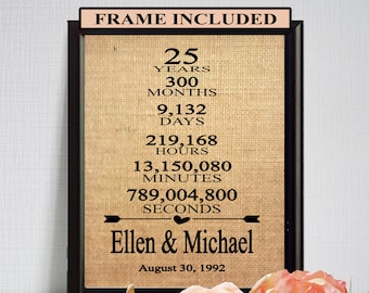 25th Wedding Anniversary/ 25th Anniversary Gift/ 25 Years of Marriage/ 25th Anniversary Gift for Parents/ Parents Anniversary Gift/ Frame