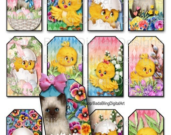 Printable easter tag etsy easter kittens and ducks gift tags printable collage sheets instant downloads cupcakes negle Gallery