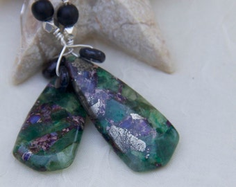 dangle earrings green purple and silver flecked pyrite flurite black onyx sterling