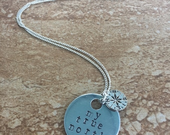 My True North - Metal Hand Stamped Necklace