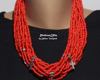 Traditional Ukrainian Handmade necklace Beaded With 15 Strands with pendants Crosses Necklace to Embroidery Coral Red necklace Amulet
