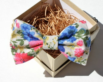 Pink and Blue Floral Bow Tie - Boys Pre-Tied Bow Tie - Children's Floral Bow Tie - Adjustable Kids Bow Tie - Ring Bearer Bow Tie