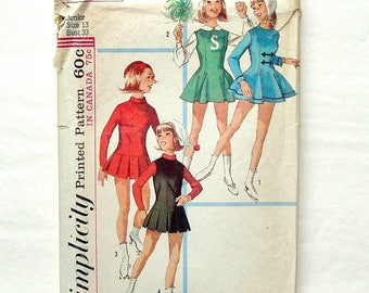 Vintage 60's Simplicity #6203 Teen Skate and Cheer Costume Sewing Pattern - Size 13 (Bust 33, Waist 25 1/2, Hip 35) - Cut and Complete