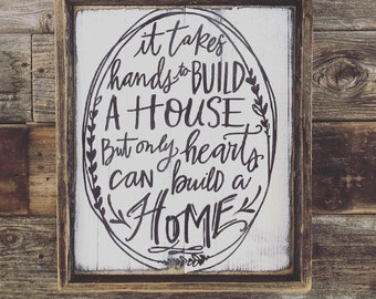 It takes hands // Reclaimed Wood // Wooden Sign // Wooden Signs // Farmhouse Syle // Modern Farm House // Cottage // Farmhouse decor
