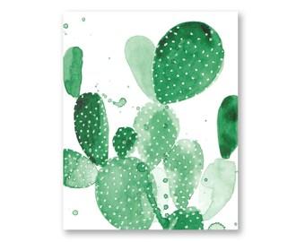 Green Paddle Cactus Watercolor print Poster Large Wall Art Cactus Print Cactus Decor Boho Wall Art Desert Botanical Print Deset Boho Decor