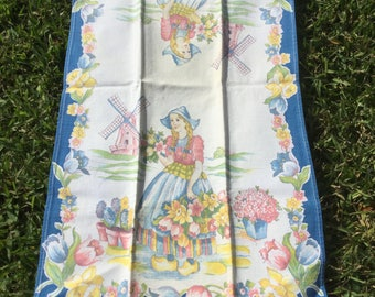 Vintage dish towel Dutch Girl Tulips Flowers and Windmills