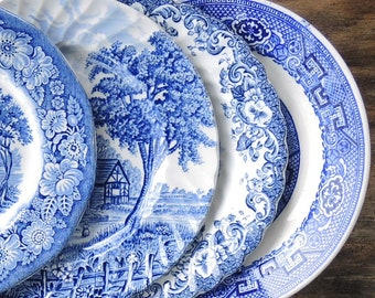 Mismatched Blue and White Bread and Butter Plates Set of 4 Plates for Weddings Bridal Luncheon, Replacement China