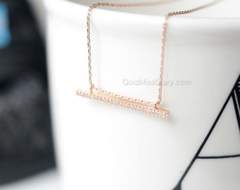 crystal slim bar necklace in rose gold Slim bar necklace, sideways bar necklace, dainty minimalist necklace, wedding gifts, bridesmaid gifts