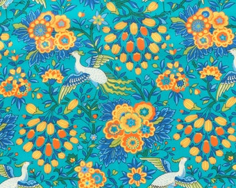 SS18 Liberty fabric  Tana Lawn Dante's Paradise 9x26'' fat eighth -  turquoise/yellow - NEW Made in India Collection
