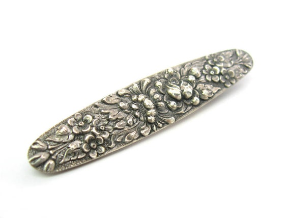 Vintage Stieff Floral Sterling Silver Brooch, c. 1920s Art Nouveau Style