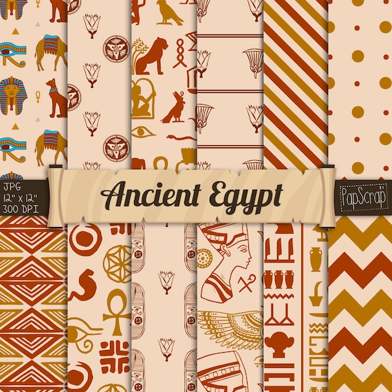 Egyptian Digital Paper Ancient Egypt Hieroglyphics Scrapbook Papyrus Vintage Antique Patterns Oriental From Papscrap On