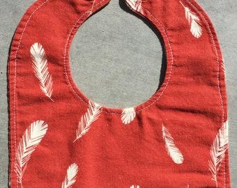 Organic Baby Bib, Red Feathers