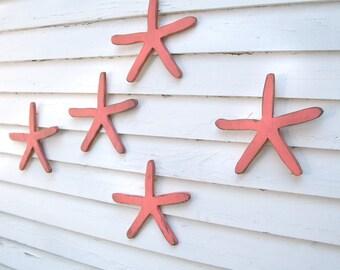 Beach Starfish Decor Beach House Decor Nautical Wall Decor Finger Starfish Art