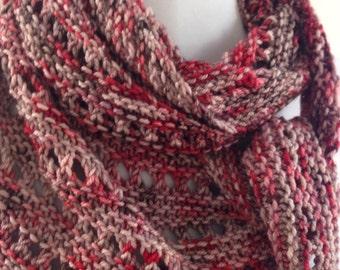 Asymmetrical Scarf, Shawlette, Luxury Knit Scarf, Boomerang Scarf, Rose Brown Scarf, Cashmere Scarf