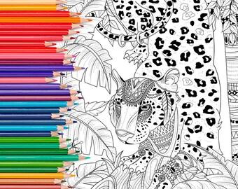 Jungle Leopard - Adult Coloring Page Print
