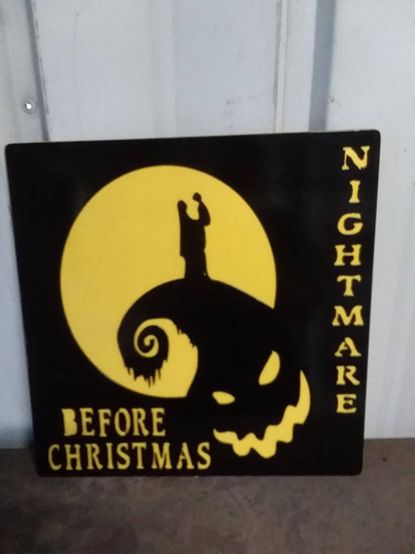 16 x 16 Nightmare Before Christmas wood and metal
