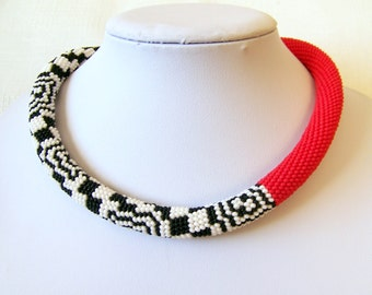 Modern Red White Black Bead Crochet Rope Necklace - Beadwork necklace - Seed beads jewelry - geometric necklace - Asymmetric necklace