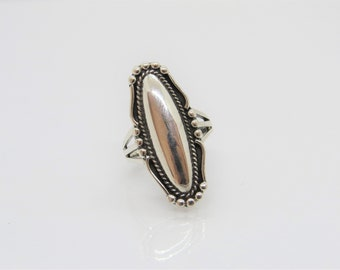 Vintage Sterling Silver  Braided Long Ring Size 7