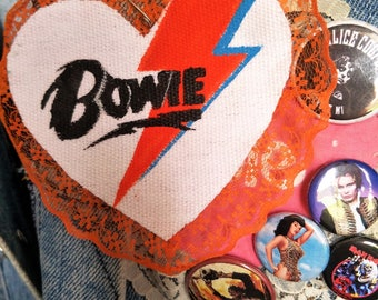 David Bowie Patch Pin 70s 80s Heart Ziggy Stardust Aladdin Sane