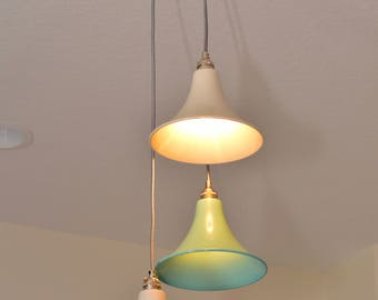 funky lighting. Fun Multi-Drop Pendant - Seafoam And White Shade Funky Lighting