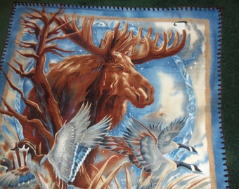 Moose , Loons, Geese and Ducks Fleece Panel Throw
