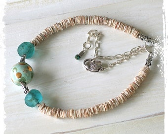 Kazuri Bead Necklace, Short Boho Necklace for Women, Glass and Shell Necklace, Ocean Inspired Necklace, Adjustable Necklace