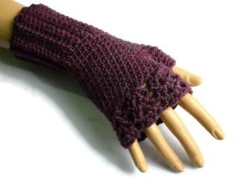 Purple Gloves, Purple Accessories, Plum Crochet Gloves, Fingerless Mittens, Fingerless Gloves, Festival Wear, Texting Gloves, Vegan Gloves