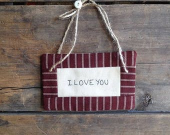 I Love You Mini Quilt. Love You Quilt. Love You Gift. Love You. Love Gift. Small Quilt. Handwritten. Hand-stitched. Hand Embroidered.