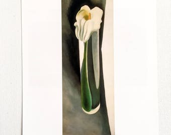 Georgia O'Keeffe / Calla in Tall Glass No. 2 / 1923 / Art / Book Page Print / Published 1990's