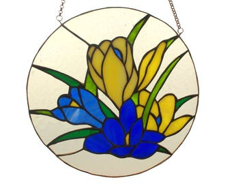 Flowers - stained glass suncatcher. Gift for grandmother. Gift for mother. Tiffany glass suncatcher. Stained glass window panel.