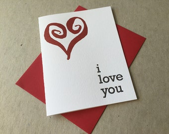 "Letterpress ""I love you"" card (#SEN017)"