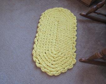 Yellow Crochet Rag Rug CP140