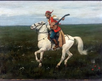 "Antique Painting ""Cavalier with Instrument"" Oil On Panel Original Old Vintage"