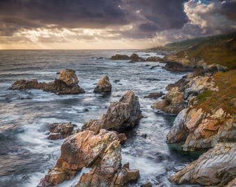 Storm Moves In - big sur,arch,rain storm,cloudy,home decor,office decor,earth tones,california,coastline,rough sea