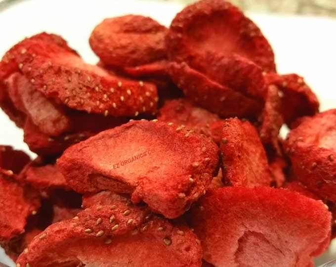 Freeze Dried Strawberries  Sliced No added sugar No gluten no soy no sulfites.