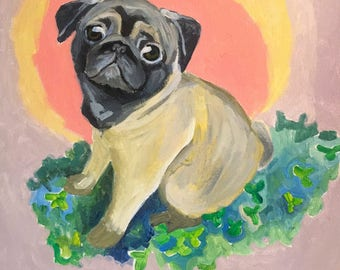 Pug in a Clover Patch