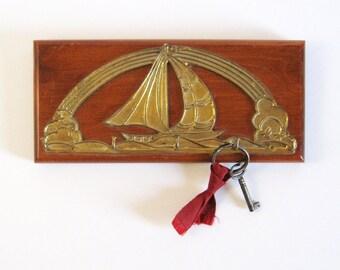 Vintage Brass Sailboat Key Hook - Wood Wall Hanging - Nautical Home Decor - Key Organizer - Brass Wall Decor - Sailing Boat Seascape Art