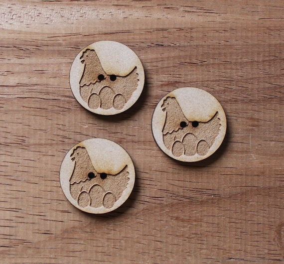 8 pieces.Hen on Nest Farmyard.Buttons,3cm Buttons-Acrylic and Wood Laser Cut-Jewelry Supplies-Little Laser Lab Wood and Acrylic Products