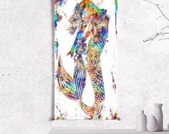 mermaid decor mermaid art mermaid print mermaid wall art print mermaid poster mermaid painting watercolor painting abstract painting canvas