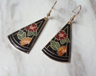 Victorian Edwardian Cloisonne Enamel Flowers Black Dangle Drop Earrings 0145