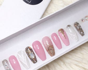 Pink ang gold coffin set