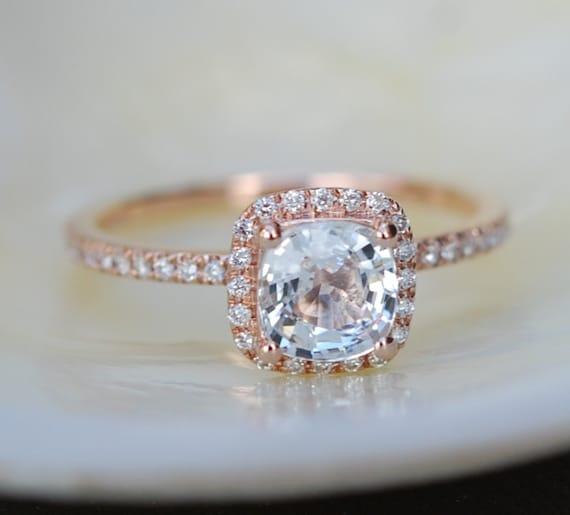 White sapphire engagement ring 14k rose gold diamond ring 1.55ct cushion sapphire ring by Eidelprecious