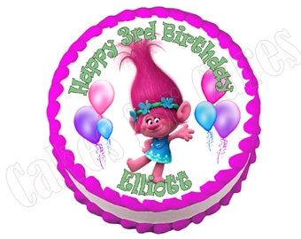 Trolls Poppy round party decoration edible cake image cake topper frosting sheet