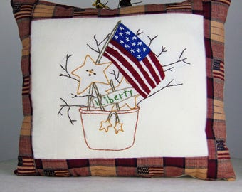 Patriotic Room Decoration, Americana Pillow, Handmade Decorative Pillow