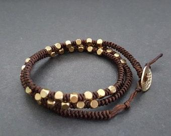 Single Strand Cube Brass Triple Wrap Bracelet, Anklet ,Short Necklace,Beads Bracelet