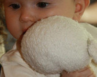 Organic Baby huggie, lovey toy, stuffed animal, security blanket made from organic cotton and wool, lamb toy
