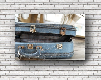 Abandoned Photography Print Fine Art Wall Art Gift - Old Blue Suitcase - Road Trip - Retro Vintage - Urbex Urban Exploration Still Life