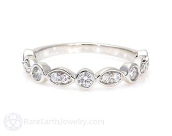 14K Diamond Anniversary Band Diamond Wedding Band Half Eternity Band Stackable Ring Stacking Ring